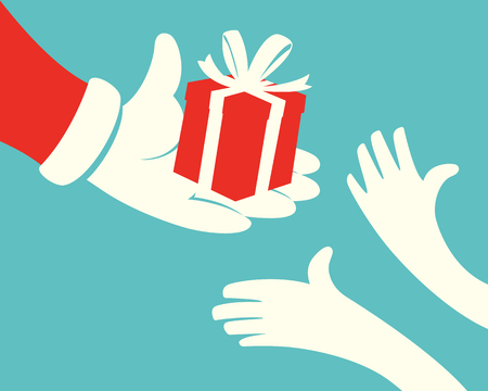 Close up of Santa claus hand holding red Gift box and hands of children on green background Иллюстрация
