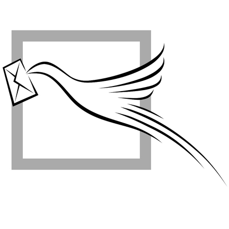 Bird with Envelope on grey color frame
