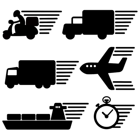 Set of transportation and clock icon black and white color with speed line