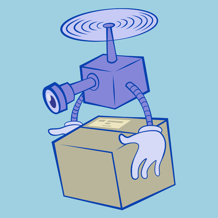 Drone delivery service.Remote air drone carring a box flying isolated in blue background. Modern delivery of the package by flying drone. Flat illustration cartoon vector Иллюстрация