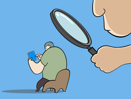 Close up of a man holding magnifying glass looking at another man sitting on a chair playing tablet isolated on blue color background vector illustration