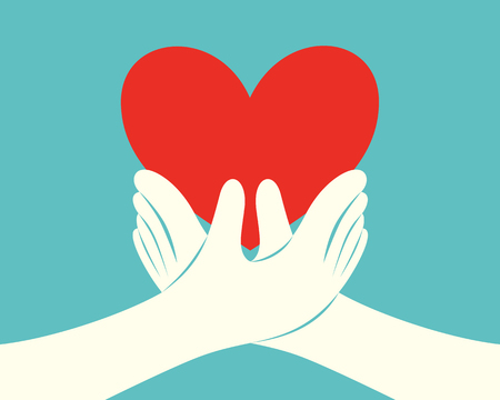 Close up of hands holding a red heart on green background vector illustration