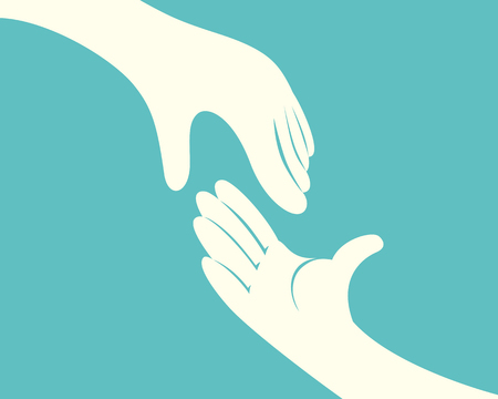 Close up of hand reaching another hand on green background vector illustration Иллюстрация