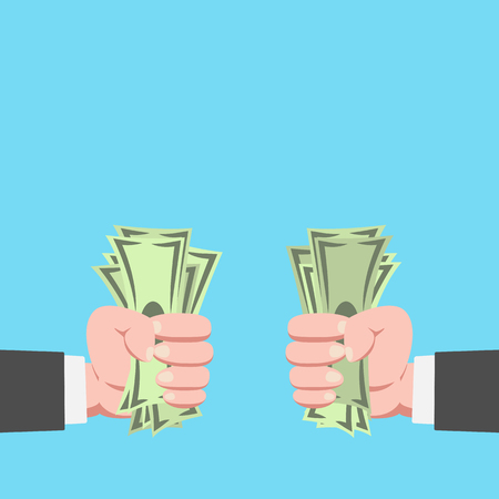 Hand of businessman with money showing up with another guy isolated on blue background vector illustration