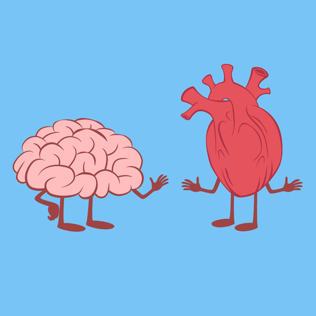 Heart and Brain standing talking isolated on blue background vector illustration