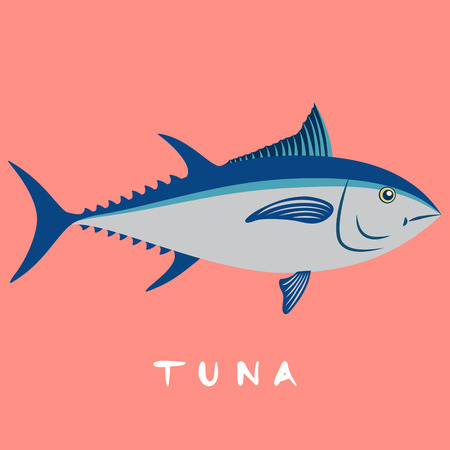 Tuna fish isolated on pink background with Free Handwritten text cartoon vector illustration. Çizim