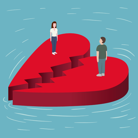Broken Red Heart Floating on the sea with a man and woman standing opposite to eachother cartoon vector illustration