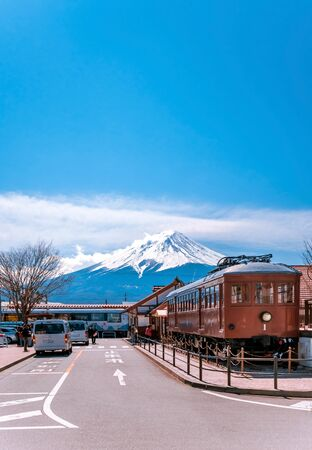 KAWAGUCHIKO,JAPAN 14 MAR 2019 Train model 1897 display at Kawaguchiko station with Mt.Fuji in the background