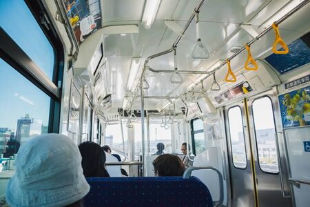 YOKOHAMA,JAPAN 13 MAR 2019 Inside the Seaside Line train to Hakkeijima station Editorial
