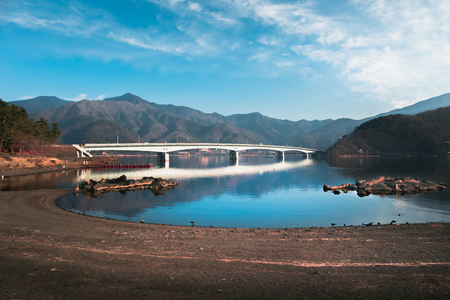 Kawaguchiko Ohashi bridge at Kawaguchi lake with reflection