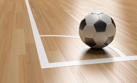 Football on Wooden Court Floor Corner close up with light reflection.Soccer court Futsal 3D rendering