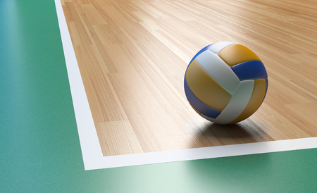 Volleyball on Wooden Court Floor Corner close up with light reflection 3D rendering with room for text or copy space Banco de Imagens