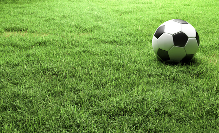 Football on the Green grass field 3d illustration wiht copy space