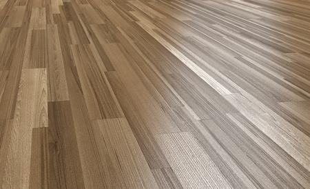 Wood floor Dark brown color with light reflection 3d perspective rendering.Paquet floor
