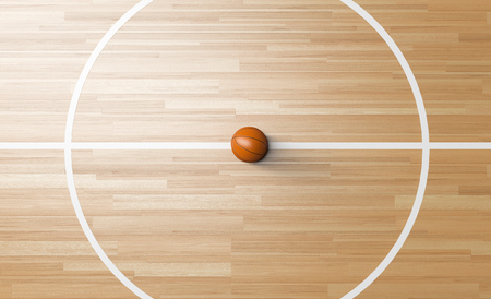 Basketball at the center line circle of Wooden Court 3D rendering
