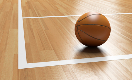 Basketball on the Corner of Wooden Court close up with light reflection 3D rendering Banco de Imagens