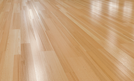 Close up of wood floor  with light reflection 3d perspective rendering.Paquet floor