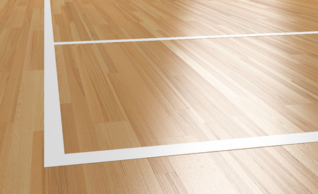 Corner of Wooden basketball Court with light reflection 3D rendering Фото со стока