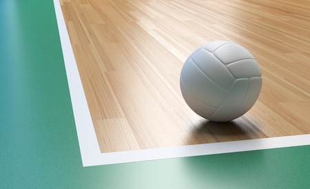 Volleyball on Wooden Court Floor Corner close up with light reflection 3D rendering with room for text or copy space 免版税图像