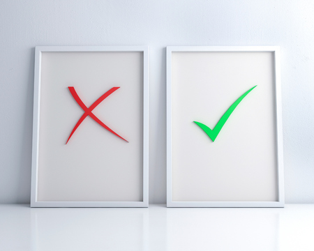White frames with Green check mark and red cross on the white floor and wall  3d rendering.right and wrong.graphic concept