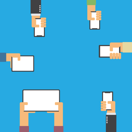 Hands holding smartphone and tablet flat design with copy space