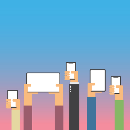 Hands raising with smartphone and tablet flat design with copy space Ilustração