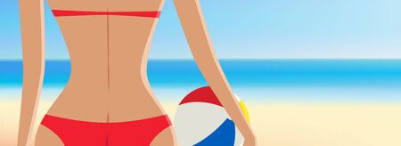 Close up of pretty girl in red bikini with beach ball in font of the beautiful tropical beach vector illustration with copyspace Иллюстрация