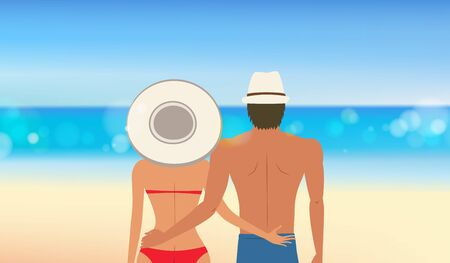 Close up of Lovely couple at the beach, girls with big hat in red bikini with her lover in front of the beautiful tropical beach. vacation concept of freedom travel. vector illustration