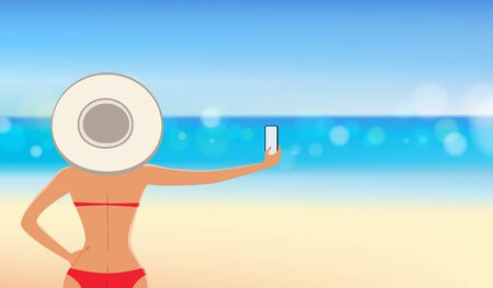 Close up of pretty girl in red bikini with big hat taking a selfie from smartphone in font of the beautiful tropical beach.vacation concept of freedom travel. vector illustration