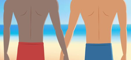 Close up of Gay couple on vacation at the beach,Young man holding hands with his lover in front of the beautiful tropical beach. vector illustration