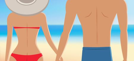 Close up of couple at the beach, girls with big hat in red bikini holding hands with her lover in front of the beautiful tropical beach. vector illustration