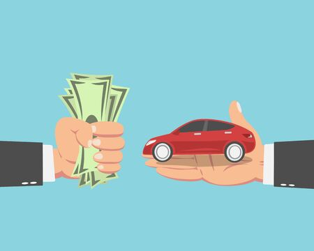 Hand of businessman with money buying a new car isolated on blue background