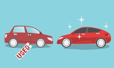 Red color New car and old used car with tag isolated on blue background.vector illustration