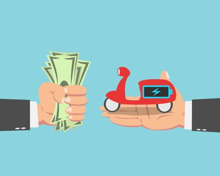 Hand of businessman with money buying a Electric scooter isolated on blue background Иллюстрация