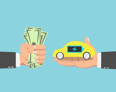 Hand of businessman with money buying a Electric car isolated on blue background