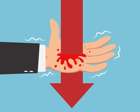 Hand of businessman get penetrated by red falling down arrow line with red blood bleeding isolated on blue background
