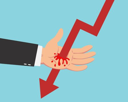 Hand of businessman get pierced by red falling down line graph with red bleeding blood isolated on blue background