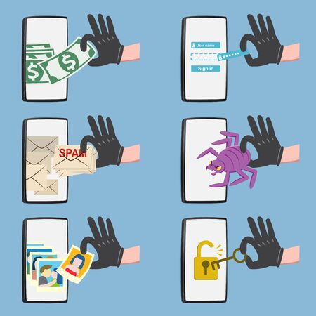 Set of hacker activity on smartphone with bug crack spam stealing money account password personal data. Online security concept vector illustration. Illustration