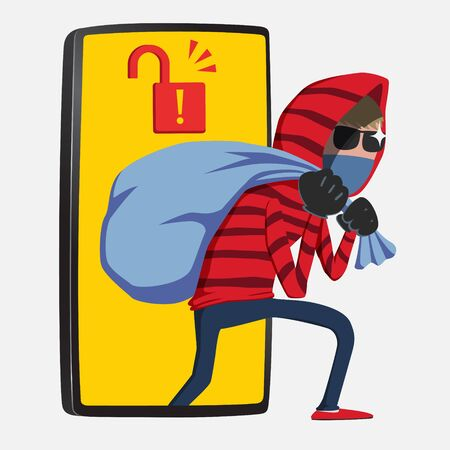 Red hood Hacker step out of smartphone screen after his criminal activity crack, spam, stealing money, account password, personal data. Online security concept vector illustration.