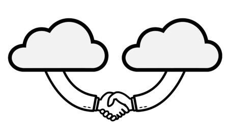 Business people shaking hands from the cloud.Businessman making contract agreement. Successful business concept vector illustration. Illustration