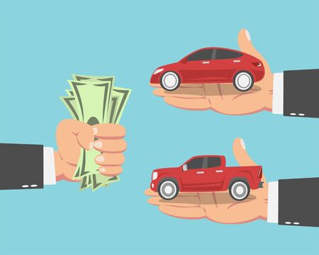 Hand of businessman with money and a Pickup truck and a red Car isolated on blue background. vector illustration