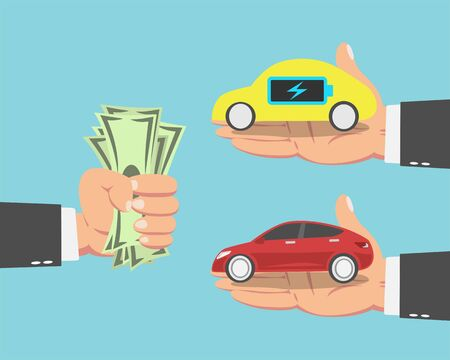 Hand of businessman with money and an electric car and a red Car isolated on blue background. vector illustration Illustration