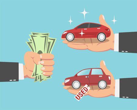 Mano dell'uomo d'affari con soldi e una nuova macchina rossa e un'auto usata isolata su sfondo blu. illustrazione vettoriale