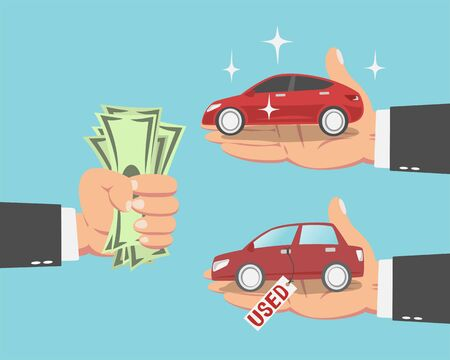 Hand of businessman with money and a new red car and a Used car isolated on blue background. vector illustration Illustration