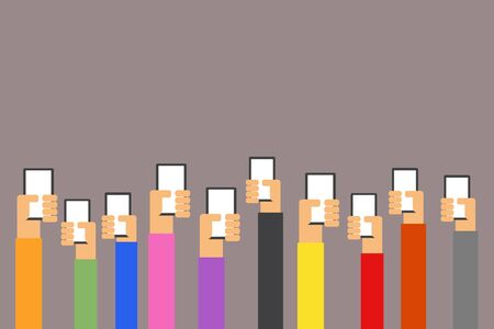 Group of people's hands holding phones and rising them up with Multicolor shirt isolated on dark background. vector illustration flat concept design with space for text template.
