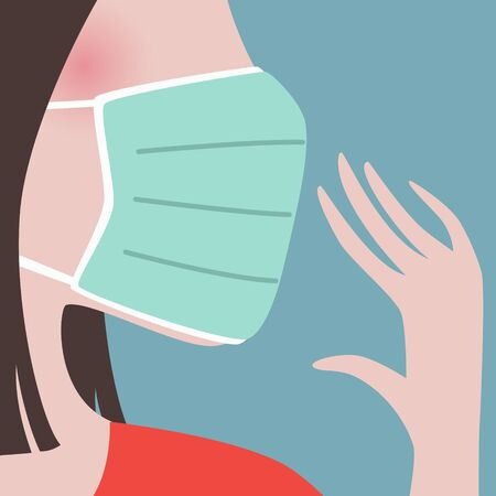 closeup of woman wearing green protective face mask.Epidemic disease concept.virus spreading protection.air pollution face mask.vector illustration.