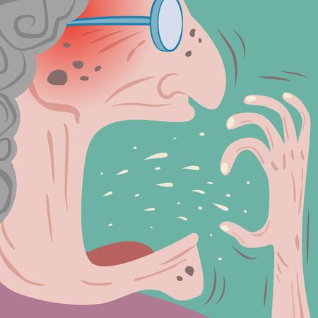 Closeup of unhealthy senior woman coughing with spit and saliva come out to her hand cover infected fluids.Epidemic disease concept.virus spreading.vector illustration.