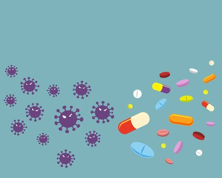 Violet virus and variety of drugs isolated on solid background.virus cartoon character vector illustration Epidemic disease concept.