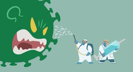 Big Green Virus monster fighting with Medical team in protective suit and Doctor holding blue Syringe.Vector illustration cartoon covid-19 corona virus.Epidemic disease concept.