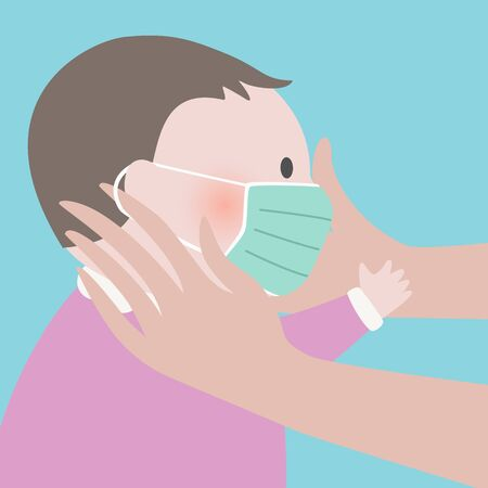 Close up of Mother putting green protective face mask on her child.Epidemic disease concept.Maternity virus spreading protection.air pollution face mask.vector illustration. 矢量图像